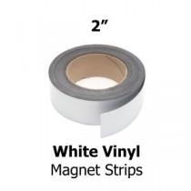 """White Vinyl Magnetic Strips -2"""" x 50' - 30 mil"""