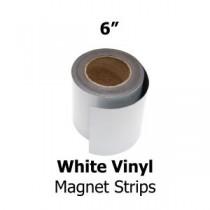 """White Vinyl Magnetic Strips -6"""" x 50'"""