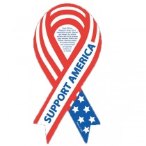 "Support America Ribbon Car Sign Magnet 3.875"" x 8"""