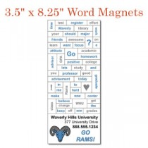 "Custom Word Magnets w/ Business Card Magnet- 3.5"" x 8.25"""