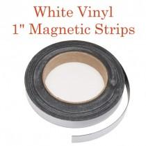 """White Vinyl Magnetic Strips -1"""" x 50' - 30 mil"""