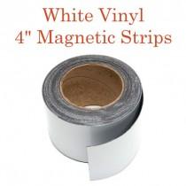 """White Vinyl Magnetic Strips -4"""" x 50'"""