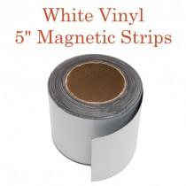 """White Vinyl Magnetic Strips -5"""" x 50'"""
