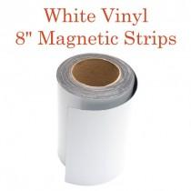 """White Vinyl Magnetic Strips -8"""" x 50' - 30 mil"""