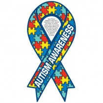 "Autism Awareness Ribbon Car Sign Magnet 3.875"" x 8"""