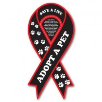 "Adopt a Pet Ribbon Car Sign Magnet 3.875"" x 8"""